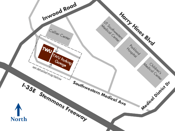 Map of TWU Dallas Center location