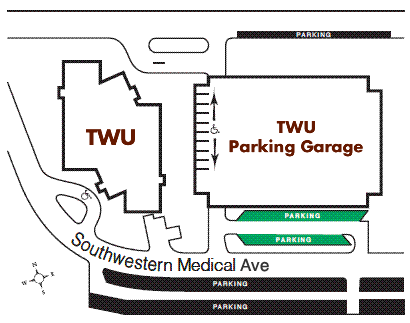 Detailed map of r parking for the TWU Dallas Center