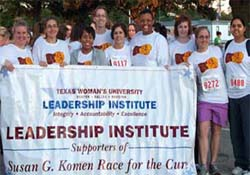 Susan G. Komen race participants from the Leadership Institute
