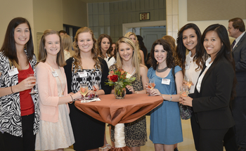 Students gathering before scholarship dinner