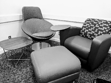 A black and white picture of a current study room on the ground floor.
