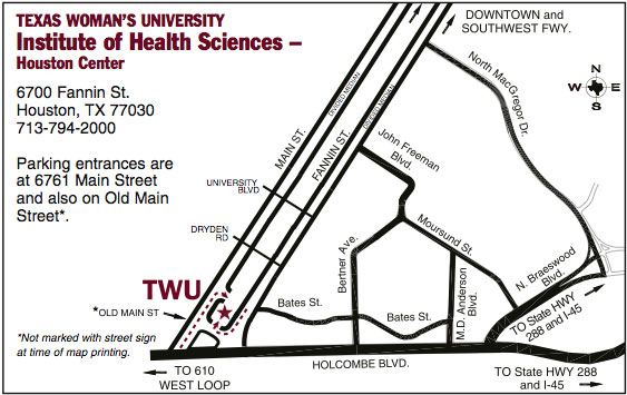 Institute of Health Sciences-Houston Center Parking Map
