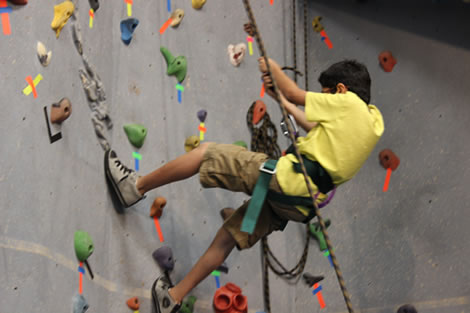 A Camp Abilities camper descends on the rock climbing wall after touching the ceiling.