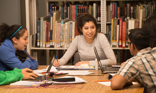 photo of TWU students studying together in the library