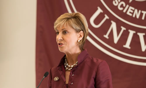 photo of Chancellor Feyten speaking before the inauguration