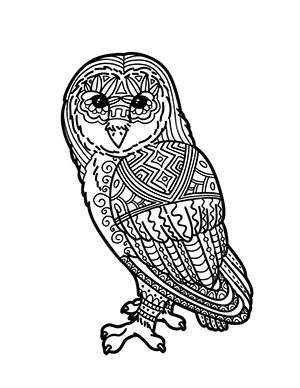 A geometric barn owl coloring page.