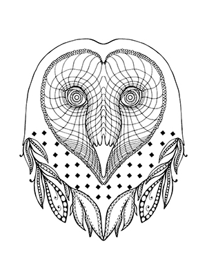 Barn owl coloring sheet with feathers and geometric designs.