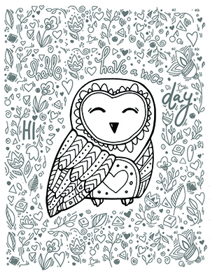 A barn owl coloring sheet with floral designs around it.