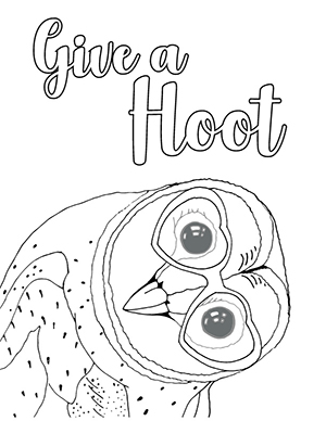 A barn owl coloring sheet with Give a Hoot text on the top.