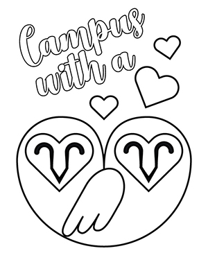Two barn owls with Campus with a Heart lettering coloring sheet.
