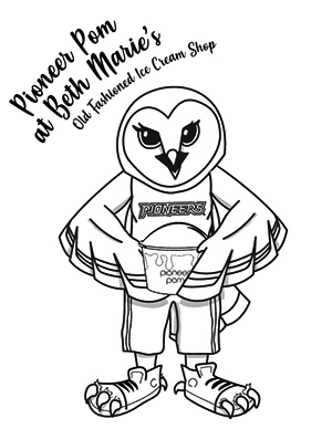 Coloring sheet with Oakley holding Pioneer Pom ice cream.
