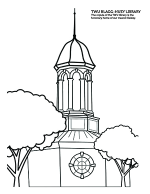 An outline of the TWU library cupola coloring sheet.