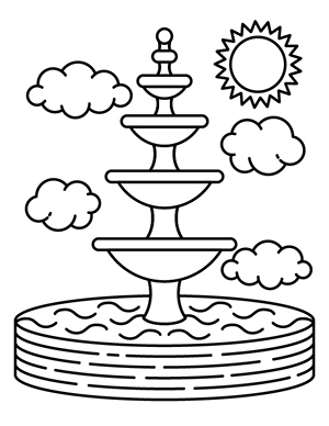 A coloring sheet of the TWU fountain.