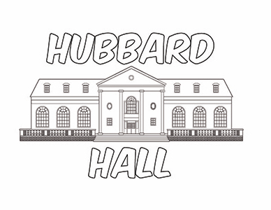 A view of TWU's Hubbard Hall coloring sheet.