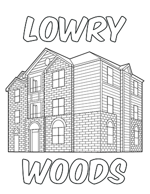 A coloring sheet of Lowry Woods.