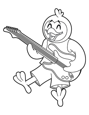 Oakley with a guitar coloring sheet.