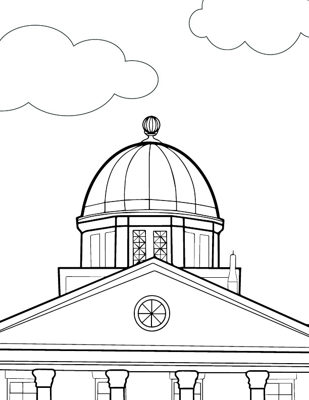 A view of Old Main coloring sheet.