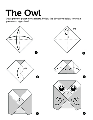 Instructions on how to make an origami barn owl.