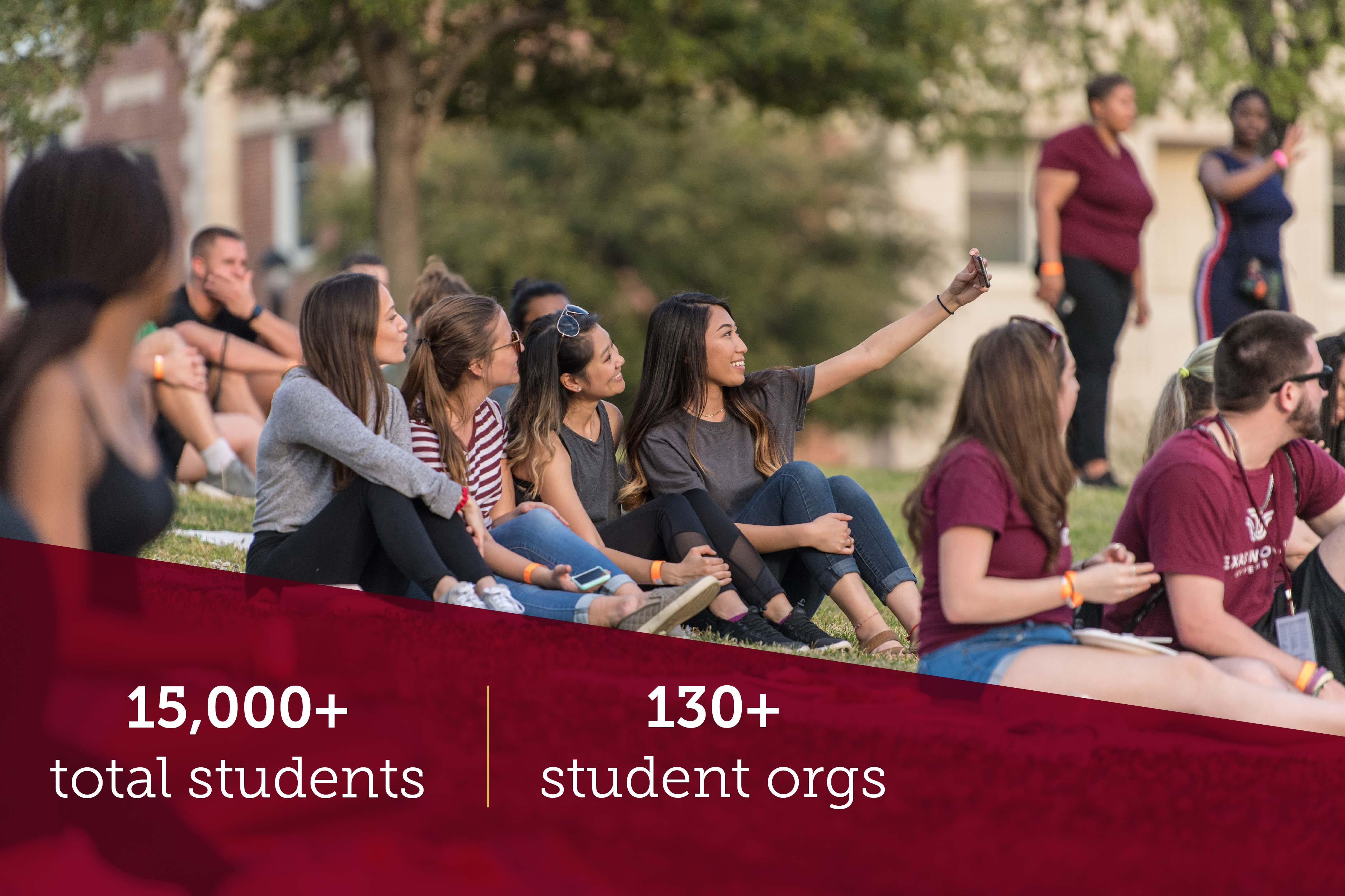 "A group of TWU students take a selfie with university facts displayed below of ""15,000+ total students"" and ""130+ student organizations""."
