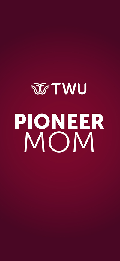 Maroon phone wallpaper with TWU's Logo and