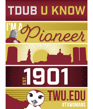 A set of 5 TWU themed bookmarks