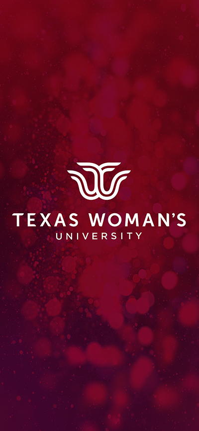 Maroon phone wallpaper with Texas Woman's University logo.