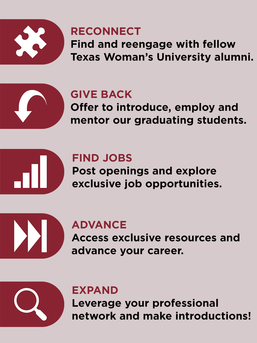 RECONNECT: Find and reengage with fellow Texas Woman's University alumni. GIVE BACK: Offer to introduce, employ and mentor our graduating students. FIND JOBS: Post openings and explore exclusive job opportunities. ADVANCE: Access exclusive resources and advance your career. EXPAND: Leverage your professional network and make introductions!