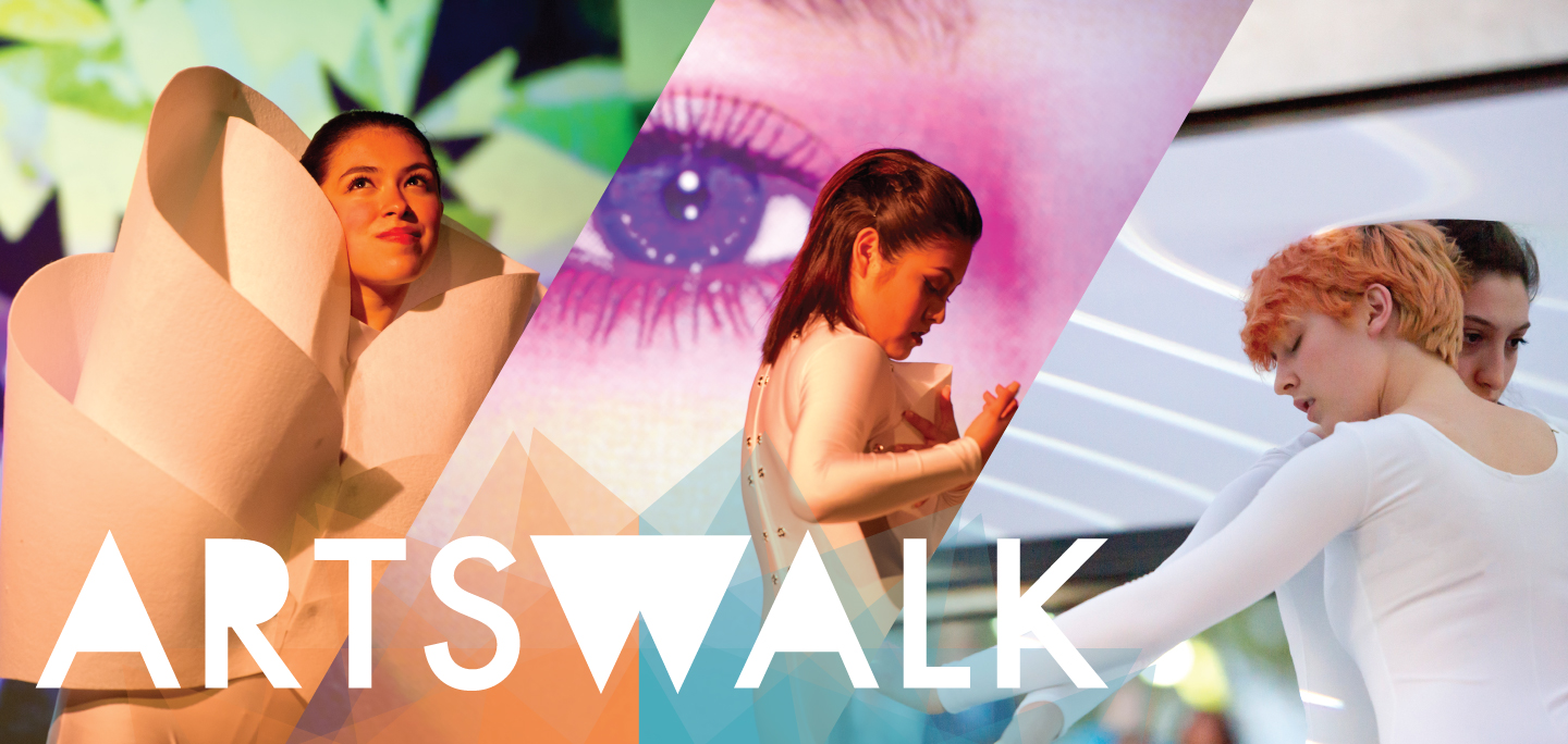 The ArtsWalk banner featuring a collage of various dancers