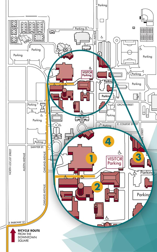 map of the denton campus showing the bike route from the downtown square to the event