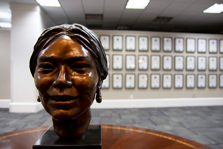 A bronze bust displayed in the Texas Women's Hall of Fame area