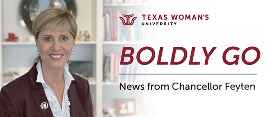Chancellor Carine Feyten sits at her desk with Texas Woman's University logo and text that says 'Boldly Go: News from Chancellor Feyten'