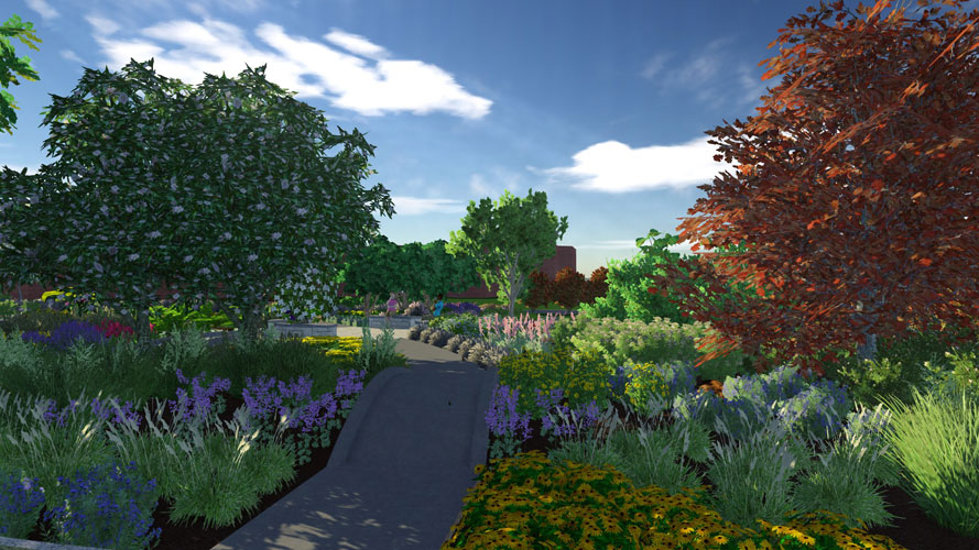 Artist's rendering of a garden path with benches in the distance