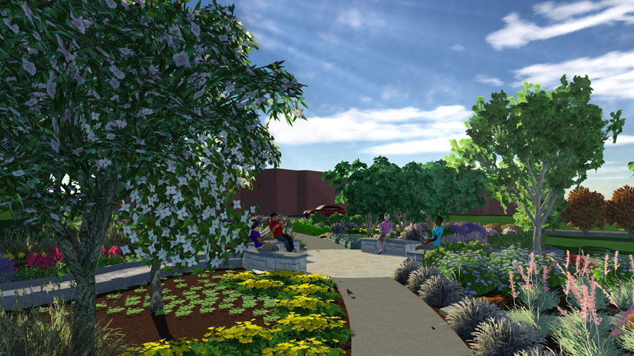 Artist's rendering of a garden path with people on benches
