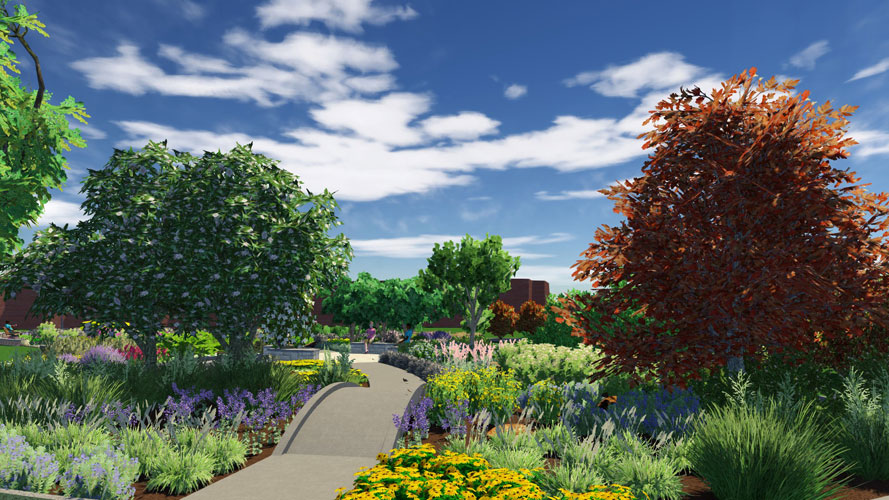 Artist's rendering of a garden path surrounded by flowers