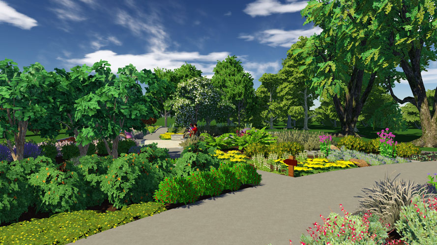 Artist's rendering of a garden path with a signage