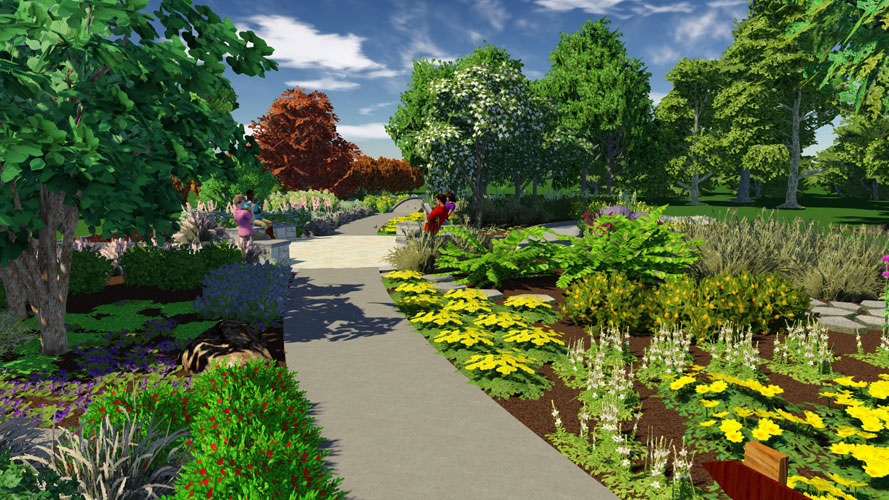 Artist's rendering of a garden path with a signage and benches in the distance