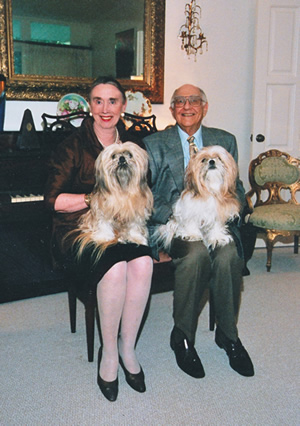 Retired TWU Chancellor Ann Stuart, her late husband Ray Poliakoff and their dogs Georgette and Honeybear