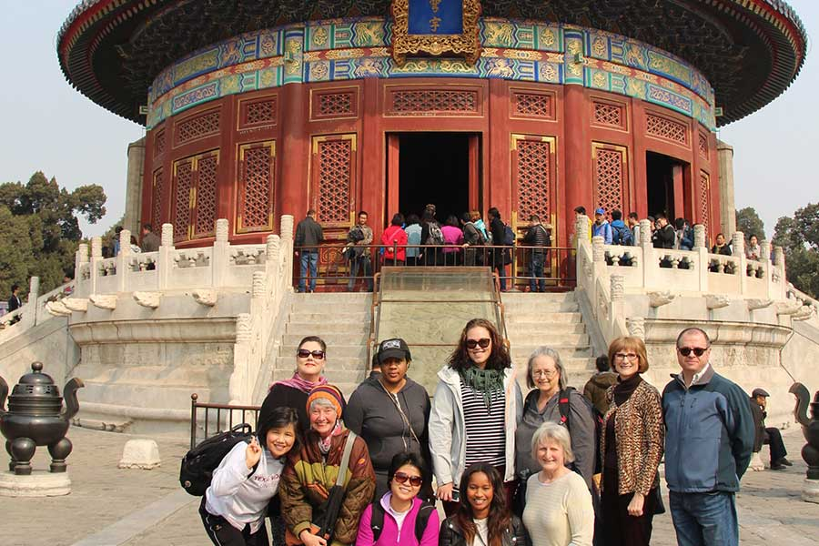 TWU students and faculty enjoying the Beijing Temple of Heaven, China.