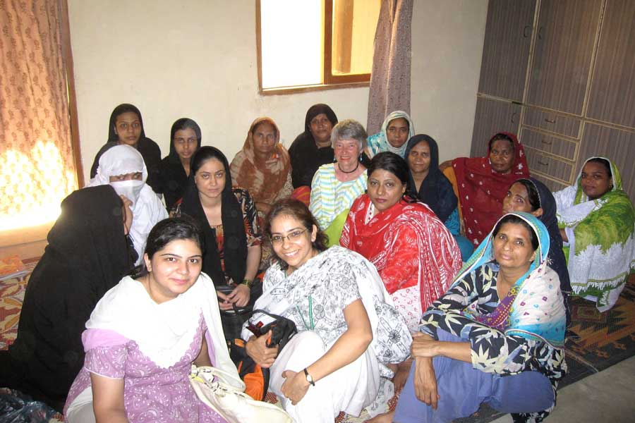 Judith McFarlane with a group of Pakistani women.