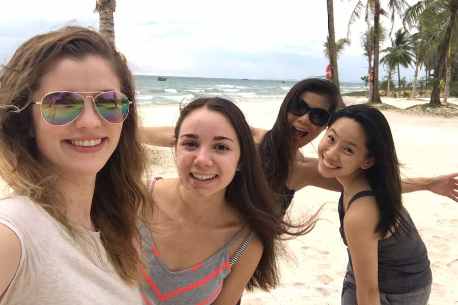TWU nursing students on a beach off the coast of Vietnam.