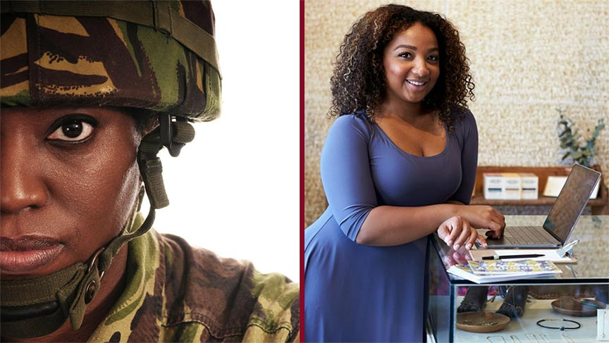 A split screen of a woman in camouflage military gear and one in business attire
