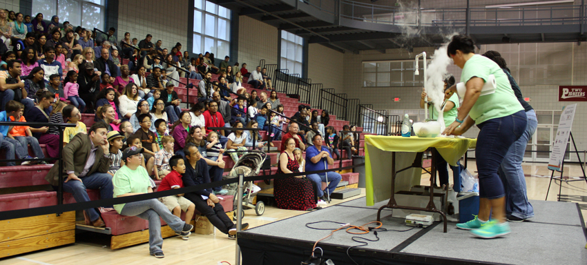 The KEM Club puts on a chemistry magic show for participants at TWU's annual science fair.