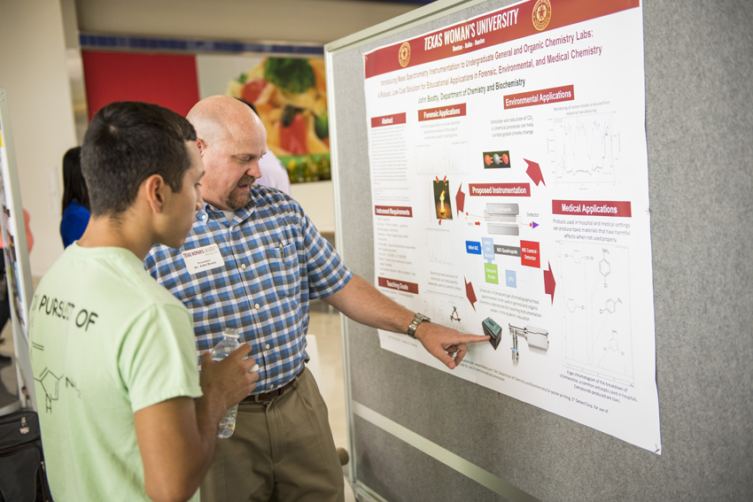 Students discuss their chemistry research at TWU's Pioneer Research at the Mall event.