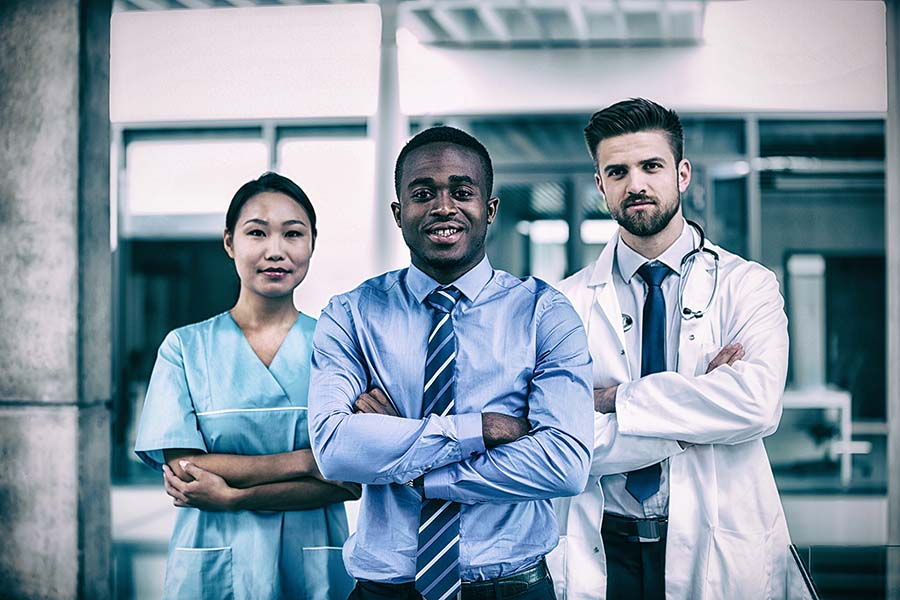 A nurse, an administrator, and a doctor