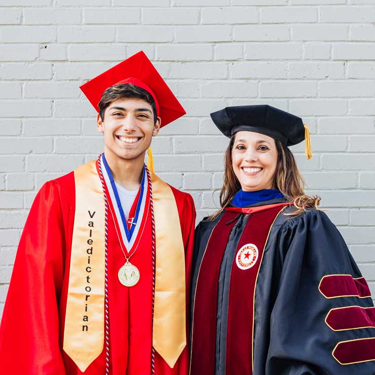 A portrait of Becky Rodriguez in doctoral academic regalia and her son in his high school academic regalia.