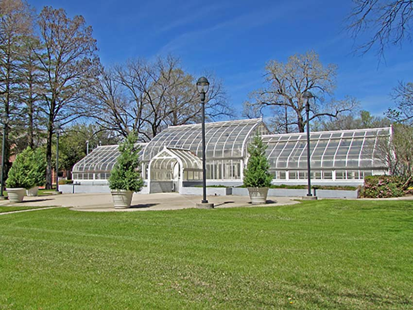 Exterior shot of the TWU Greenhouse