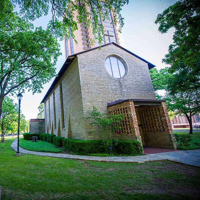 The exterior of the Little Chapel-in-the-Woods on the TWU Denton campus