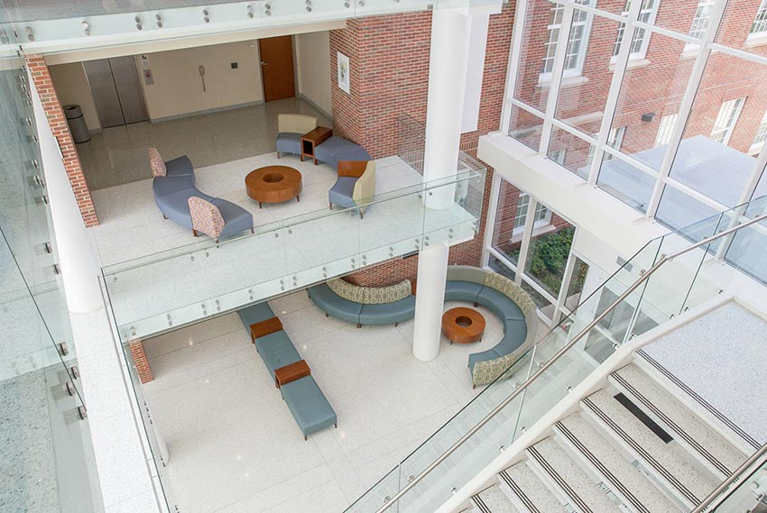 Interior shot of Ann Stuart Science Complex from the third floor looking down to the first floor