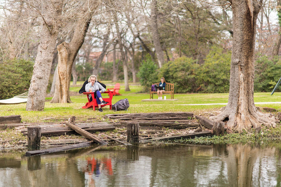 TWU students relax on the Denton campus