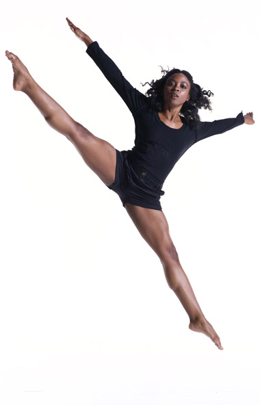 Dancer in black leotard